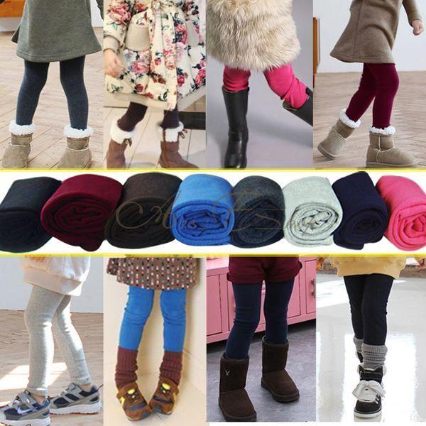 Girl Winter Warm Thick Leggings Fleece Lined Kids Trousers Pants SZ 2 3 4 5 6 7