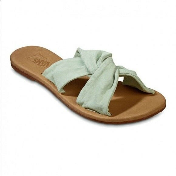 fe12bf1915e233 VANS off The Wall Womens Ayla Slide Suede Bay Seafoam Green Sandals 10 for  sale online