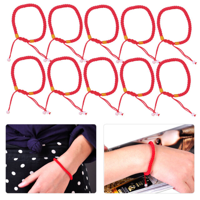 10pc Handmade Lucky Red String Bracelet Beaded Braided Rope Cord Gift Adjustable