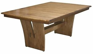 Amish Rectangle Trestle Dining Table Modern Contemporary Solid Wood Furniture