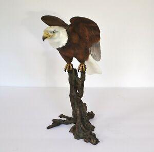 "Gold amp; Silver Plated American Bald Eagle Bronze Figurine 6/"" x 8/"""