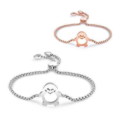 Der GüNstigste Preis Damen Armband Pinguin Edelstahl Armkette Verstellbar