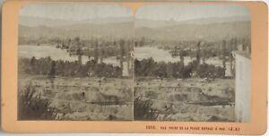 Pau-Vista-Prise-Da-La-Place-Royale-Foto-Stereo-Vintage-Albumina-c1870