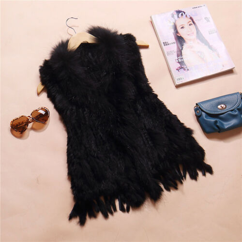 Lady World Fur Fashion Real Knitted Rabbit Fur Shawl Cape Gilet Tassel Fur Coat