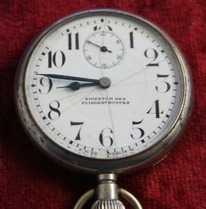 """Taschenuhr """"EIGENTUM DER FLIEGERTRUPPE"""" 1918 - das Uhrwerk läuft nicht an"""