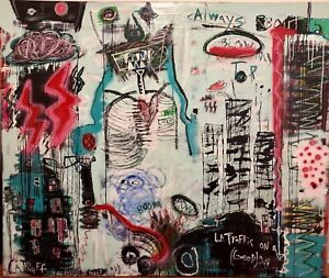 Large-Modern-Abstract-Art-Inspired-By-Basquiat-Picasso-Pollack-Banksy-Warhol