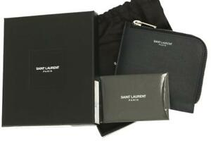 b13345a4270 Details about NEW YSL SAINT LAURENT BLUE GRAIN LEATHER ZIPPED COIN POUCH  CARD HOLDER WALLET