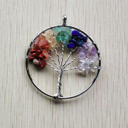 7 Farben Chakra Anhänger Halskette Schmuckstück Baum des Lebens Lebensbaum
