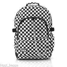 BLACK WHITE CHECKER BACKPACK RUCKSACK Check Goth Skate School College CHOK Bag