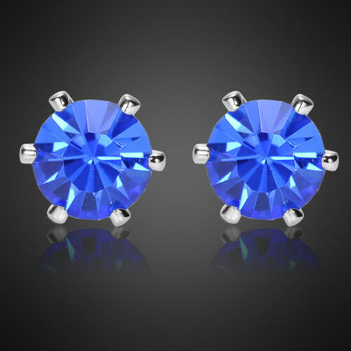 5Mmx5Mm Fashion Lady Round Blue Sapphire White Gold Plated Stud Earrings
