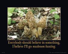 Morel Mushroom Motivational Poster Art Print Whitetail Deer Antlers Sheds MVP164