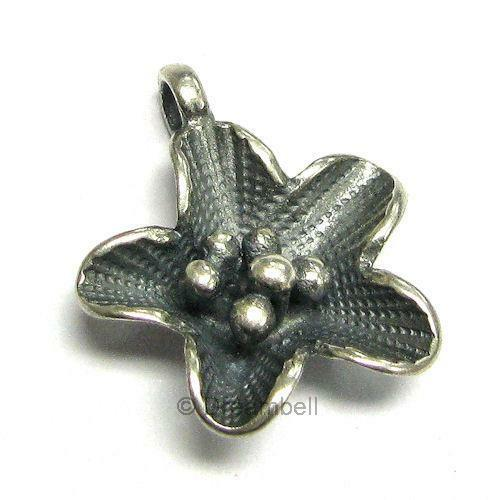 1 Sterling Silver Star Flower Charm Pendant Bead 2 2mm