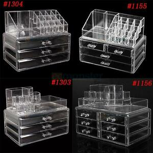 Clear-Makeup-Case-Cosmetic-Organizer-Drawers-Jewelry-Storage-Acrylic-Cabinet-Box