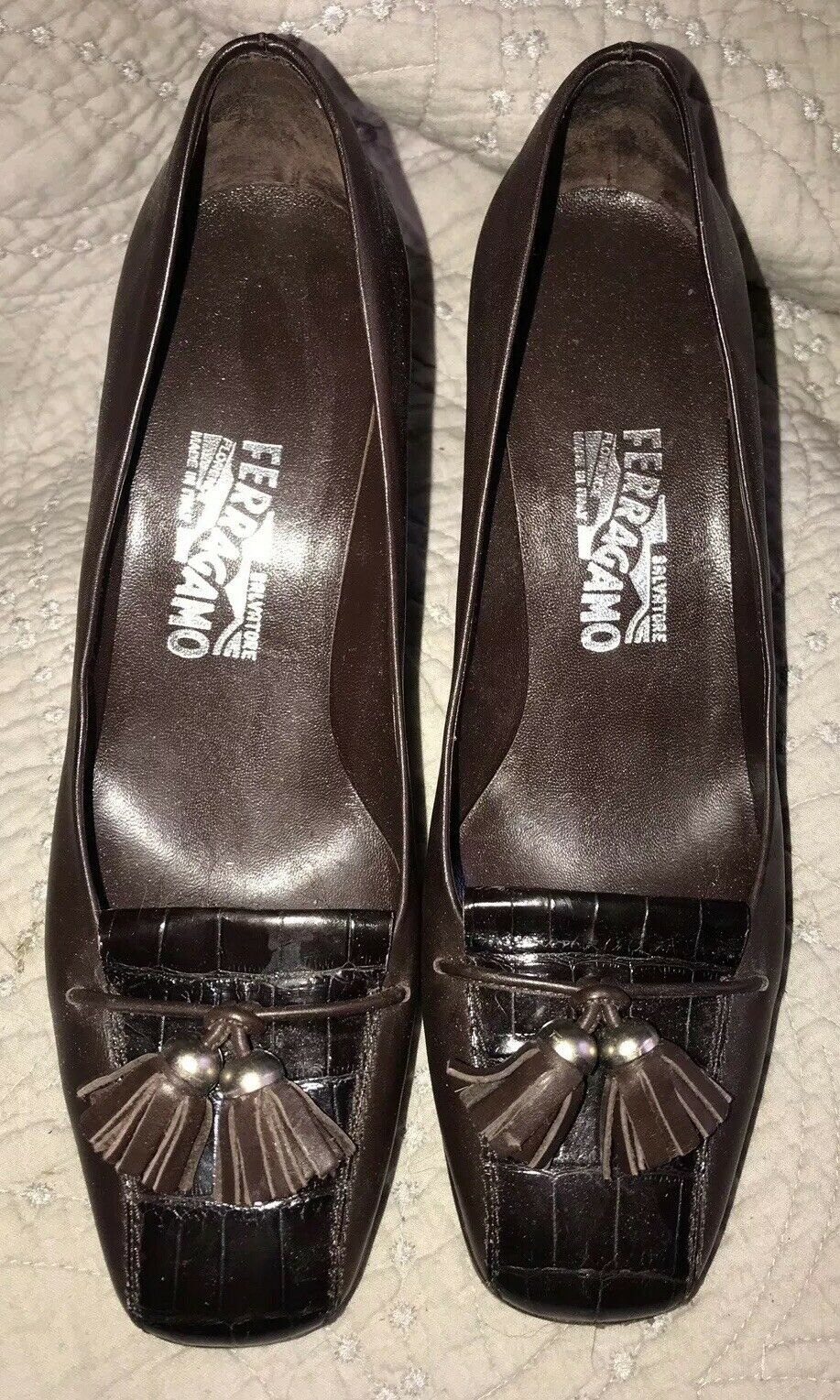Salvatore Ferragamo Tassel Loafer Brown  Leather Chunky Heels Pumps 9 B EUC