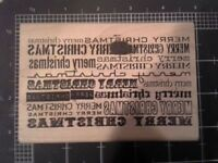 Tim Holtz Collection Merry Christmas Words Wood Mounted Rubber Stamp -