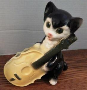 Vintage ROYAL COPLEY Black Cat With Yellow Cello PLANTER - Mid-Century