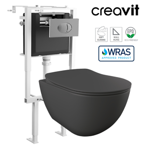 CREAVIT Matt Anthracite Short Projection Wall Hung Toilet Pan Frame FE320