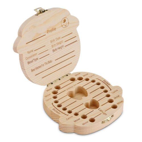 Wooden Tooth Storage Box Kids Children Baby Teeth Holder Keepsake Organizer Gift