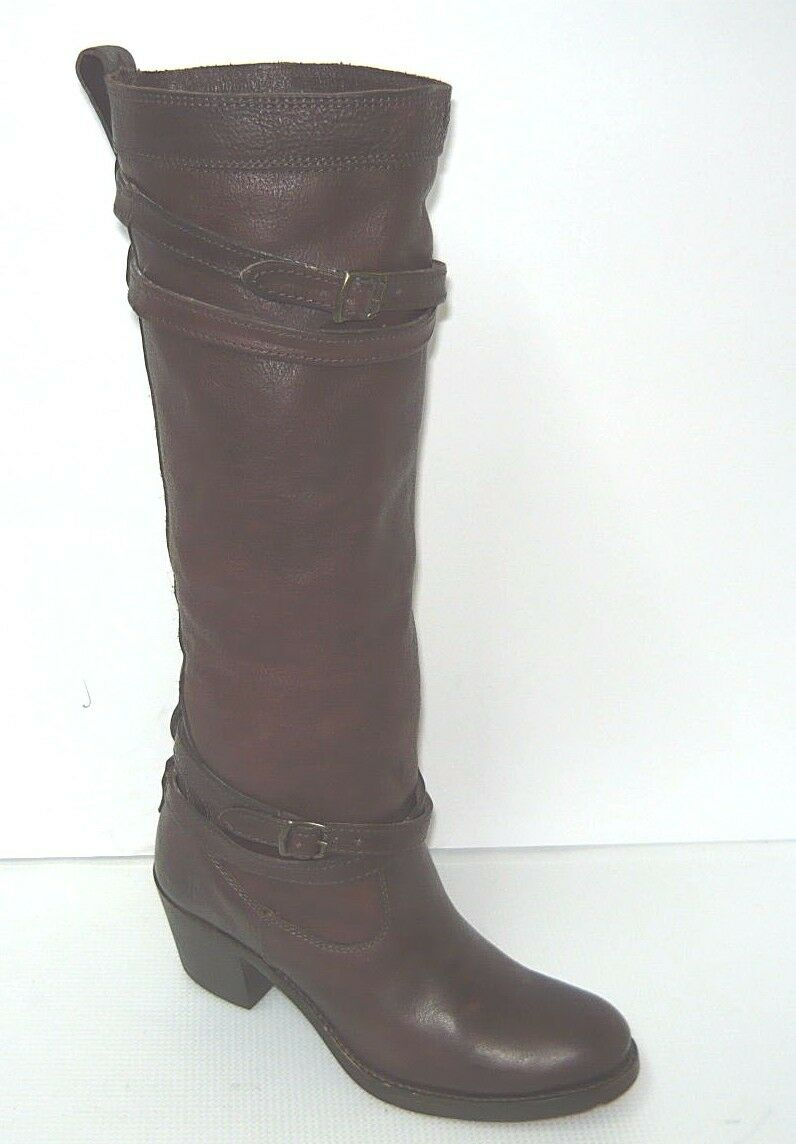 FRYE 76396 Jane Strappy Brown Leather Riding Boots Women's Size 5.5B