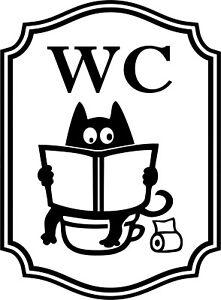 Wc Auto Adhesif En Vinyle Autocollant Autocollant Signes Toilette Salle De Bain Drole De Chat Noir Ebay
