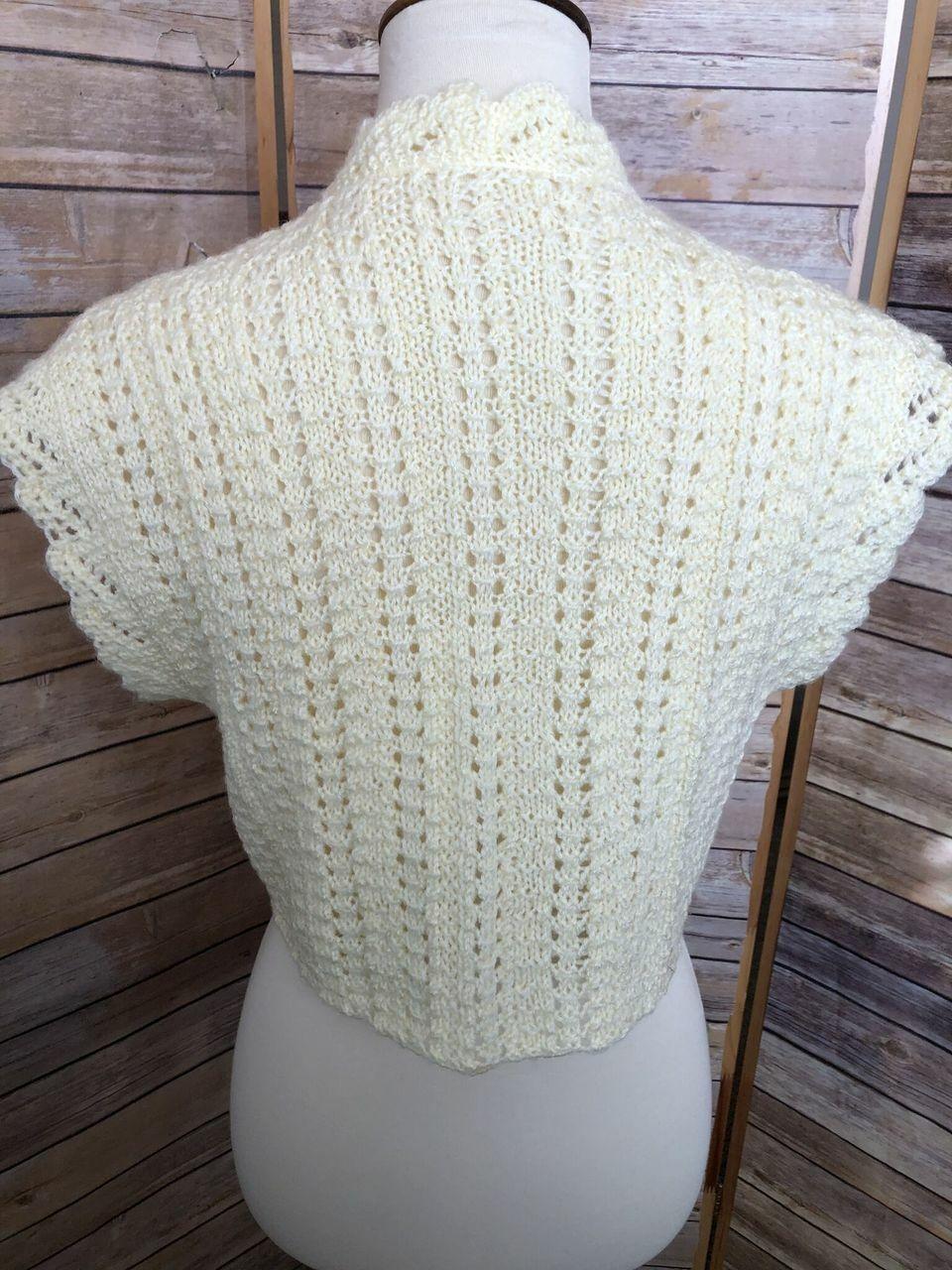 Vintage Womens Short Sleeve Hand Knit Sweater Cro… - image 7