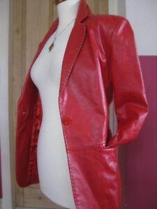 Uk Coat Size Tailored Jacket Leather Teodem Red 12 Genuine Ladies Blazer xwqX60aC