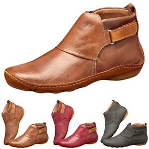Womens Low Heel Ankle Booties Round Toe Boots Back Zipper Flat Shoes Size 3.5-8