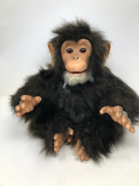 FurReal Friends Cuddle Chimp Interactive Animated Monkey 2005 w/ Banana Bottle