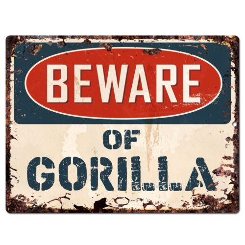 PP1488 Beware of GORILLA Plate Rustic Chic Sign Home Room Store Decor Gift