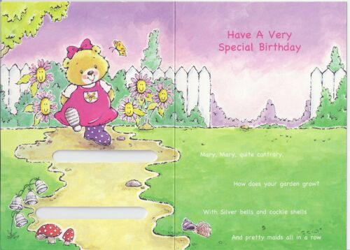 MARY MARY QUITE CONTRARY CHILDREN/'S 3rd BIRTHDAY CARD AGE 3