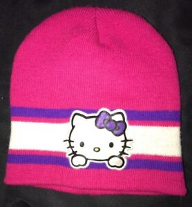 0c393261d girls HELLO KITTY bold pink purple white KNIT BEANIE STYLE WINTER ...
