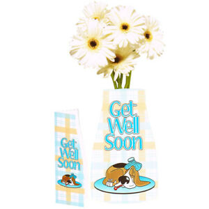 GET WELL SOON REVA REUSABLE VASE w/ CARD ~ Birthday Party Supplies Decoration
