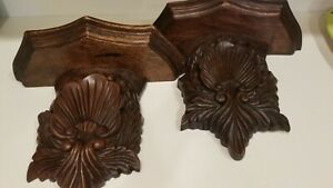 TWO-VINTAGE-PRE-OWNED-LARGE-ORNATE-CARVED-WOOD-DISPLY-WALL-SHELF-SCONCE