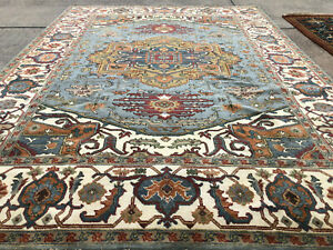 9x12 BLUE WOOL HAND-KNOTTED RUG HANDMADE handwoven traditional carpet big heriz