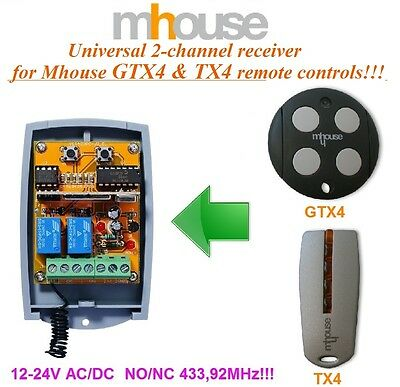 Mhouse universal 2-channel receiver 12-24 VAC/VDC for Mhouse GTX4 & TX4 remotes