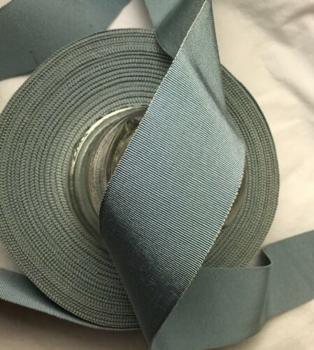 "BTY 2/"" Blue vtg cotton rayon grosgrain petersham ribbon millinery hat"