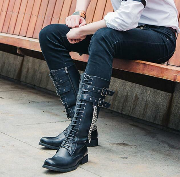 Punk Men's Buckle Lace Up Zipper Metal Chain Riding Knee High Boots Shoes H412