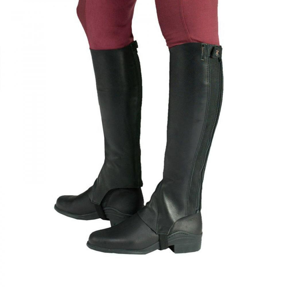 Horze Franci Soft Leather Half Chaps Double Rib Elastic Strong Stirrup Elastic