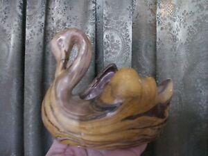 Vintage-Vtg-Marbled-Swan-Planter-Mid-Century-Heavy-1940s-Forties-Art-Heavy-Retro