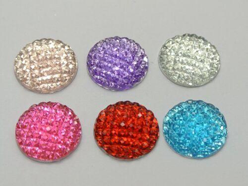 50 color mezclado con Puntos de Resina Dorso duro para Libros cúpula Cabujón de gemas de diamantes de imitación 16mm