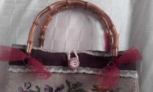 Handbag Uncinetto Shabby Chic Borsa Ad Creare Riciclando Vintage 8FxqfBR