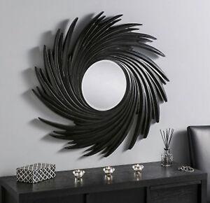 Image Is Loading Black Swirl Sunburst Wall Mirror Modern Large 3ft
