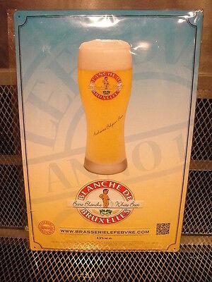 Blanche de Bruxelles Belgian Beer ~ RARE ~ Peeing Boy Advertising Tin Sign