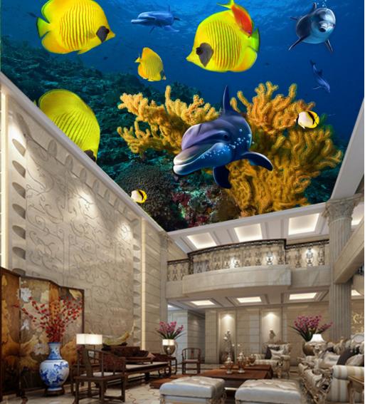 3D Gelbe Fische 784  Fototapeten Wandbild Fototapete BildTapete Familie DE Kyra