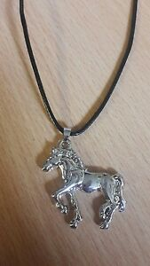 Silver-Horse-Animal-Pendant-Necklace-Charm-Choker-Jewelry-Cool-Men-Women-Gifts