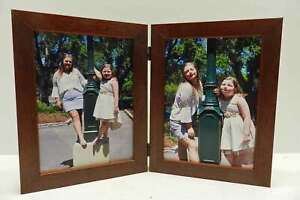 8x10-Brown-Walnut-Stain-Double-Hinged-Vertical-Wood-Photo-Picture-Frame-New