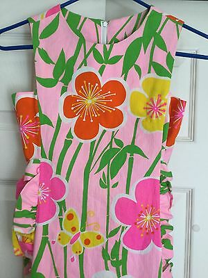 NWT McInery Hawaiian House Apron Neon Pink Floral Design Sz 10 Groovy!