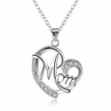 Sterling Silver Austrian Crystal Mom Heart Necklace