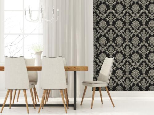 Exclusive Majestic Diamond Black//Silver Grey Damask Glitter Wallpaper Z306