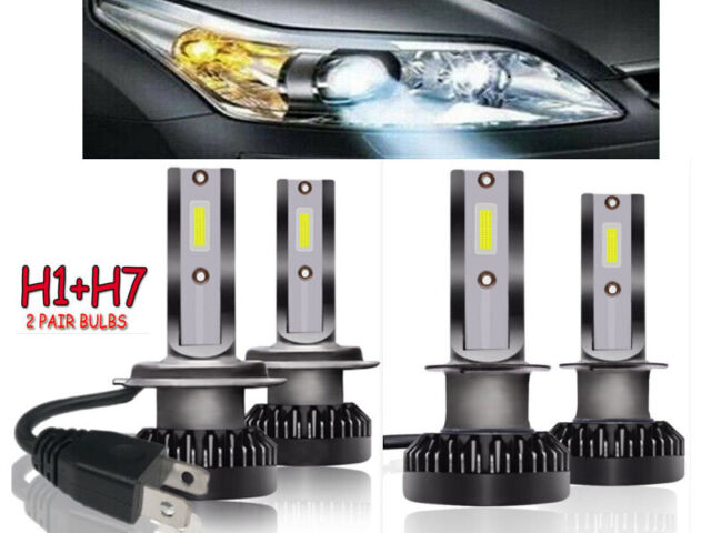 2 Pair H1+H7 Phare LED Voiture COB Chips Ampoule 110W 26000LM 6000K Blanc Lampe